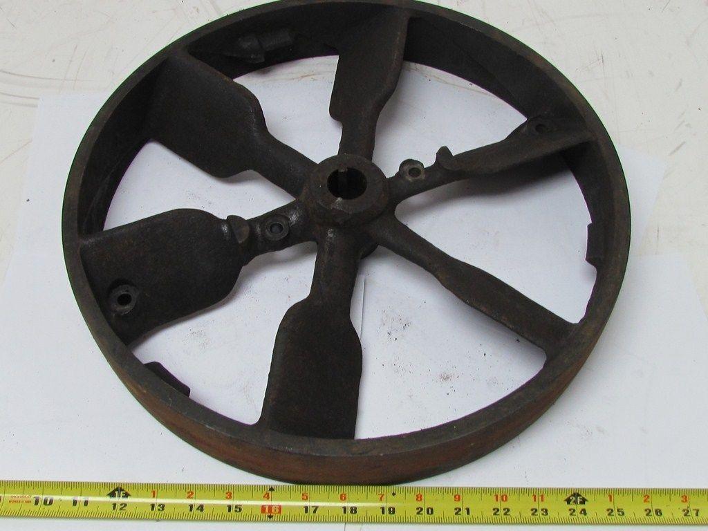 Vtg quot dia industrial cast iron flywheel pulley flat