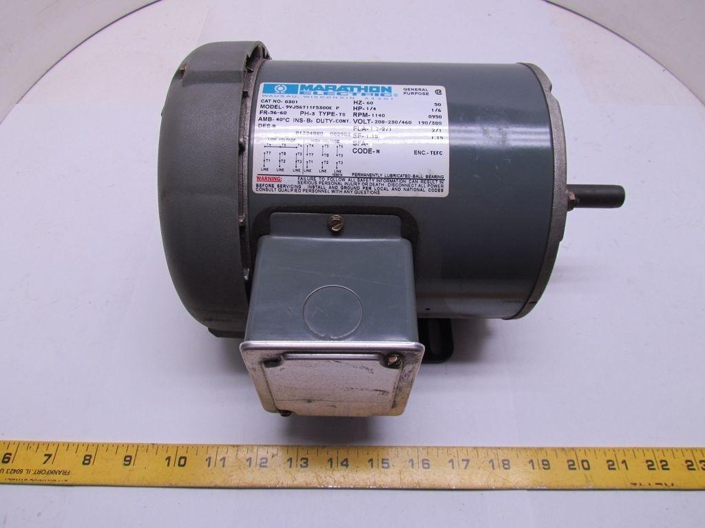 Marathon electric 9vj56t11f5300e p 1 4 hp 1140 950 rpm cat for 9 hp electric motor