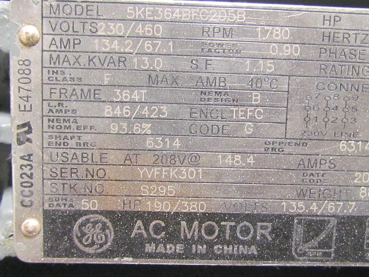 Allis Chalmers Type Apzz 364t Frame 2hp 3hp 860rpm Electric Motor Stearns Brake Ebay