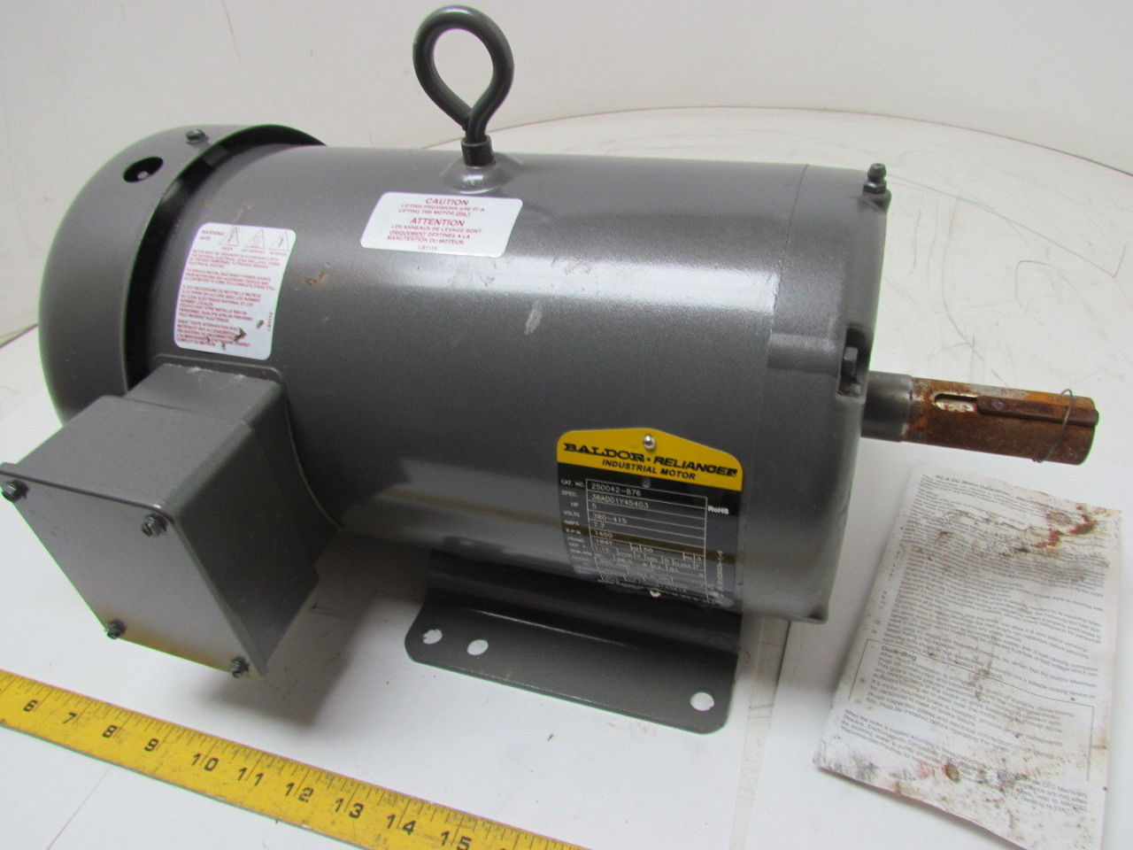 Baldor reliance 250042 876 36a001y454g3 5hp 1450rpm 380 for 5 hp tefc motor
