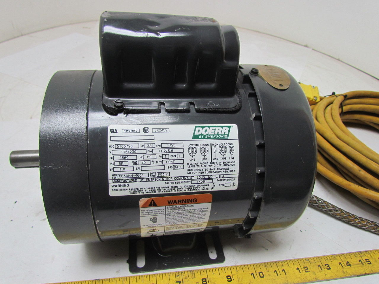 Doerr by emerson 3 4 hp 1725 rpm 115 v 1 ph single phase for 1 4 hp 1725 rpm motor