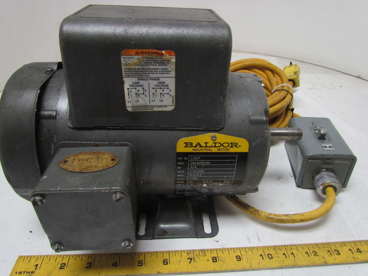 Baldor l3507 3 4 hp 1725 rpm 56 frame 115 volt 1 ph single for Baldor 2 hp single phase motor