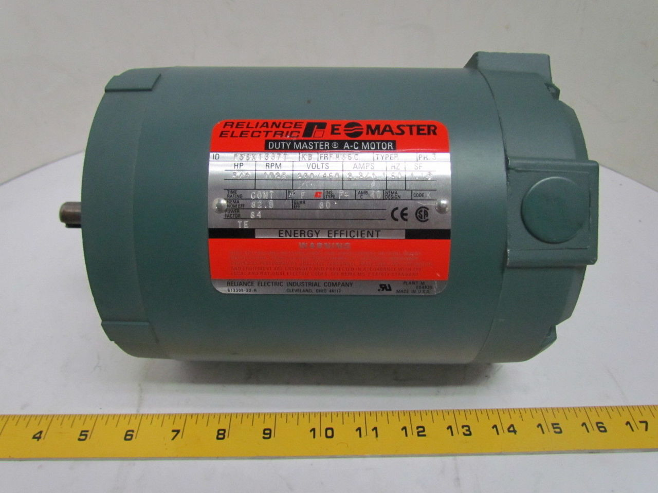 Reliance duty e a c electric motor 3 4 hp 1725 rpm 230 for 4 horsepower dc motor