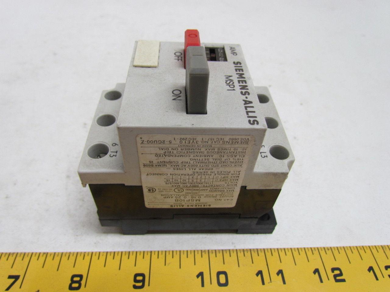 Siemens Msp10b Amp Motor Starter Protector Ebay