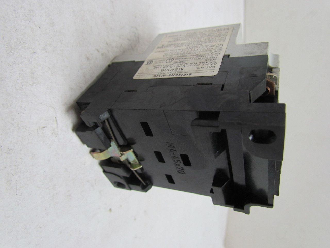 Siemens Msp10b Amp Motor Starter Protector