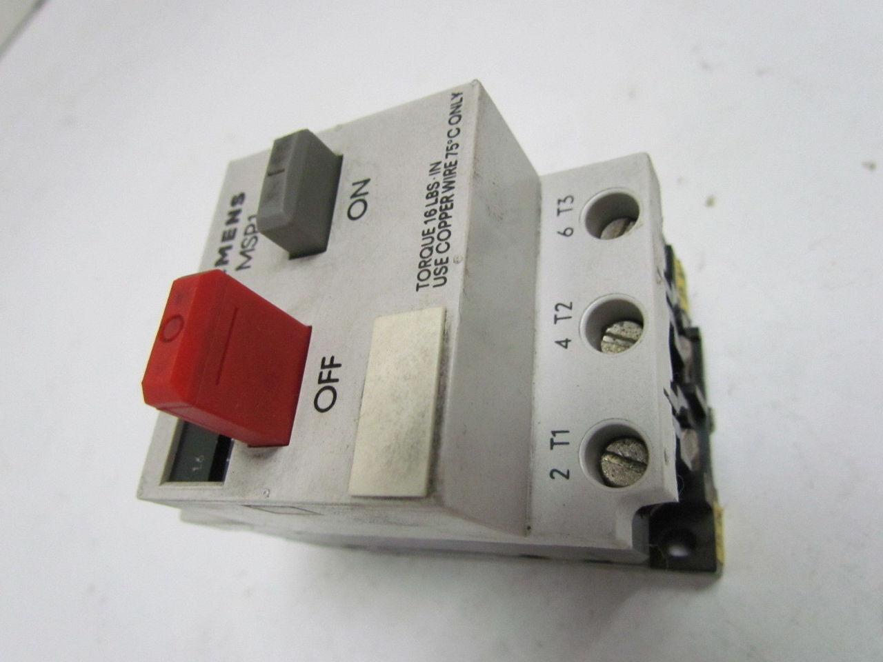 Siemens Msp10f 3ve1 0 1 0 1 6 Amp Motor Starter Protector