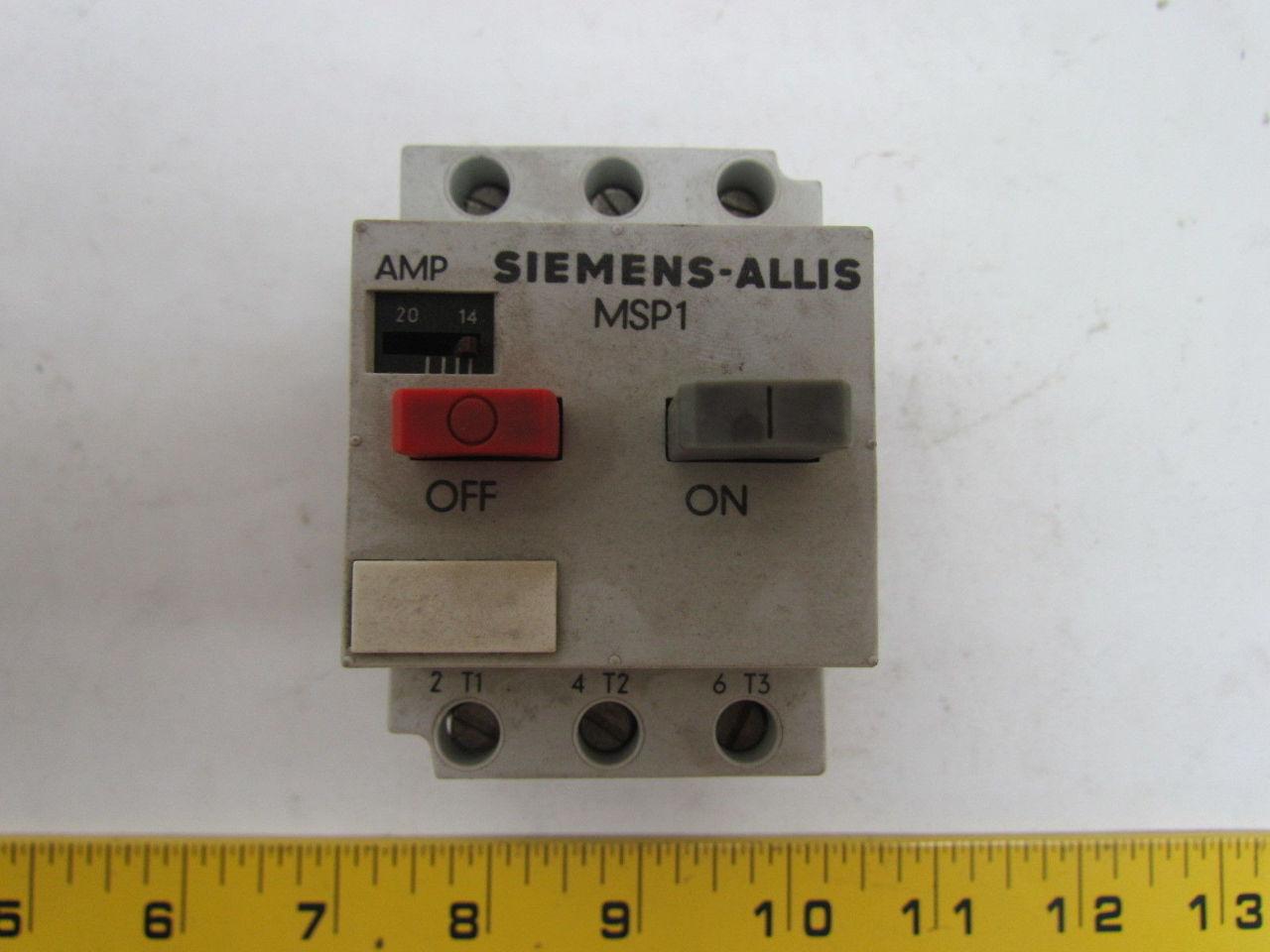 Siemens Msp10r 3ve1 0 14 18 Amp Motor Starter Protector