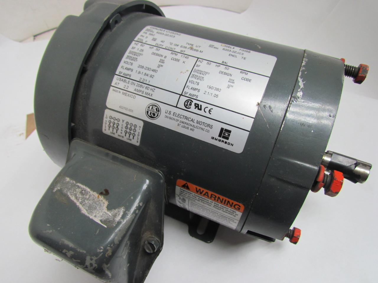 Us motors u12s2ac f008b 50 hp 1745 rpm 208 230v 3ph te for 50 hp dc motor