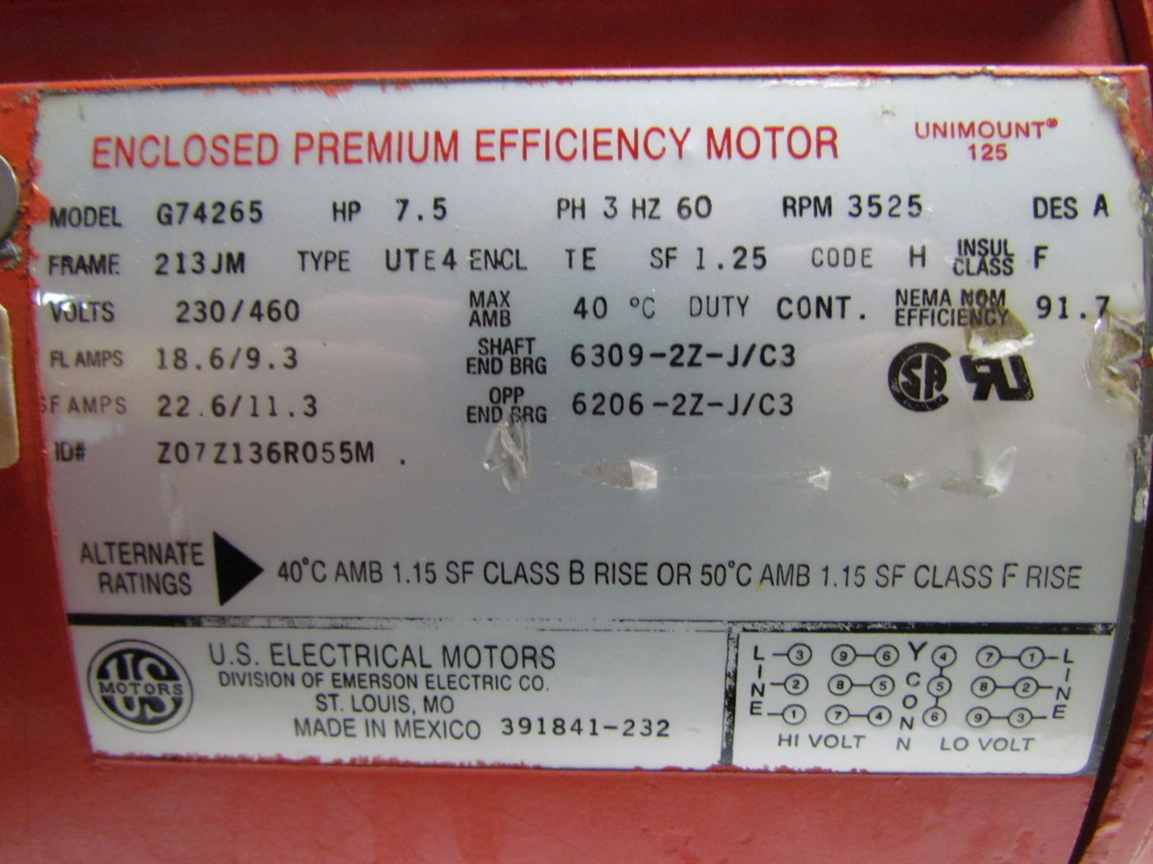 Us motors g74265 unimount 125 75hp 3ph 3525rpm 230v te electric sku 35679 publicscrutiny Images