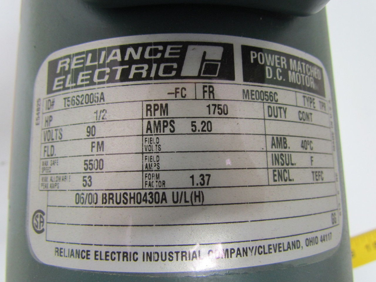 Reliance electric t56s2005a 1 2hp 90v 56c frame tefc power for Reliance dc motor frame size chart