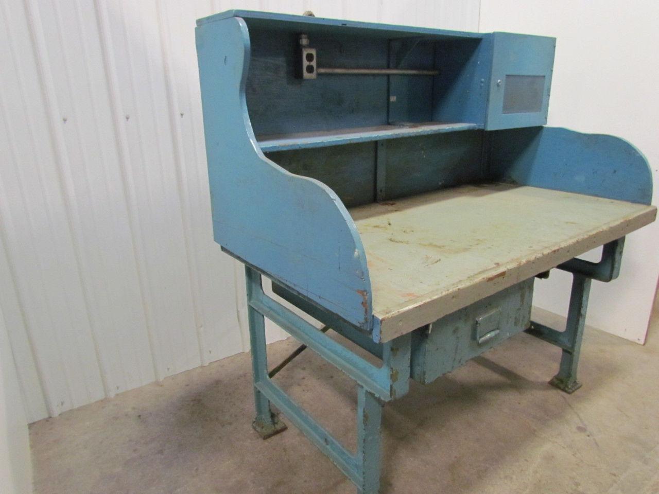 Vintage Industrial Heavy Duty Workbench Desk Butcher Block