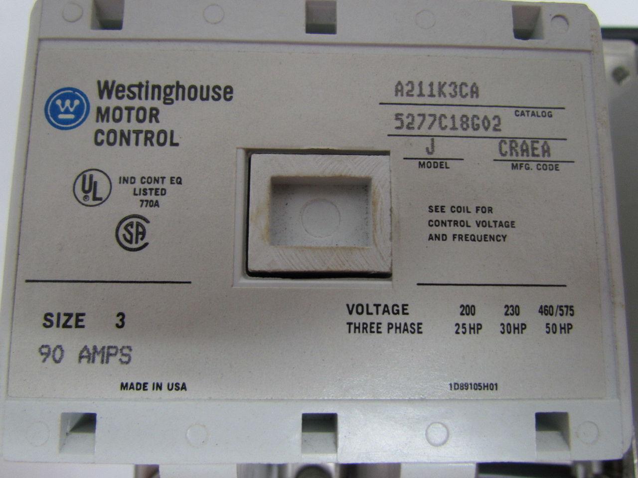 Westinghouse A211k3ca Reversing Contactor Motor Control