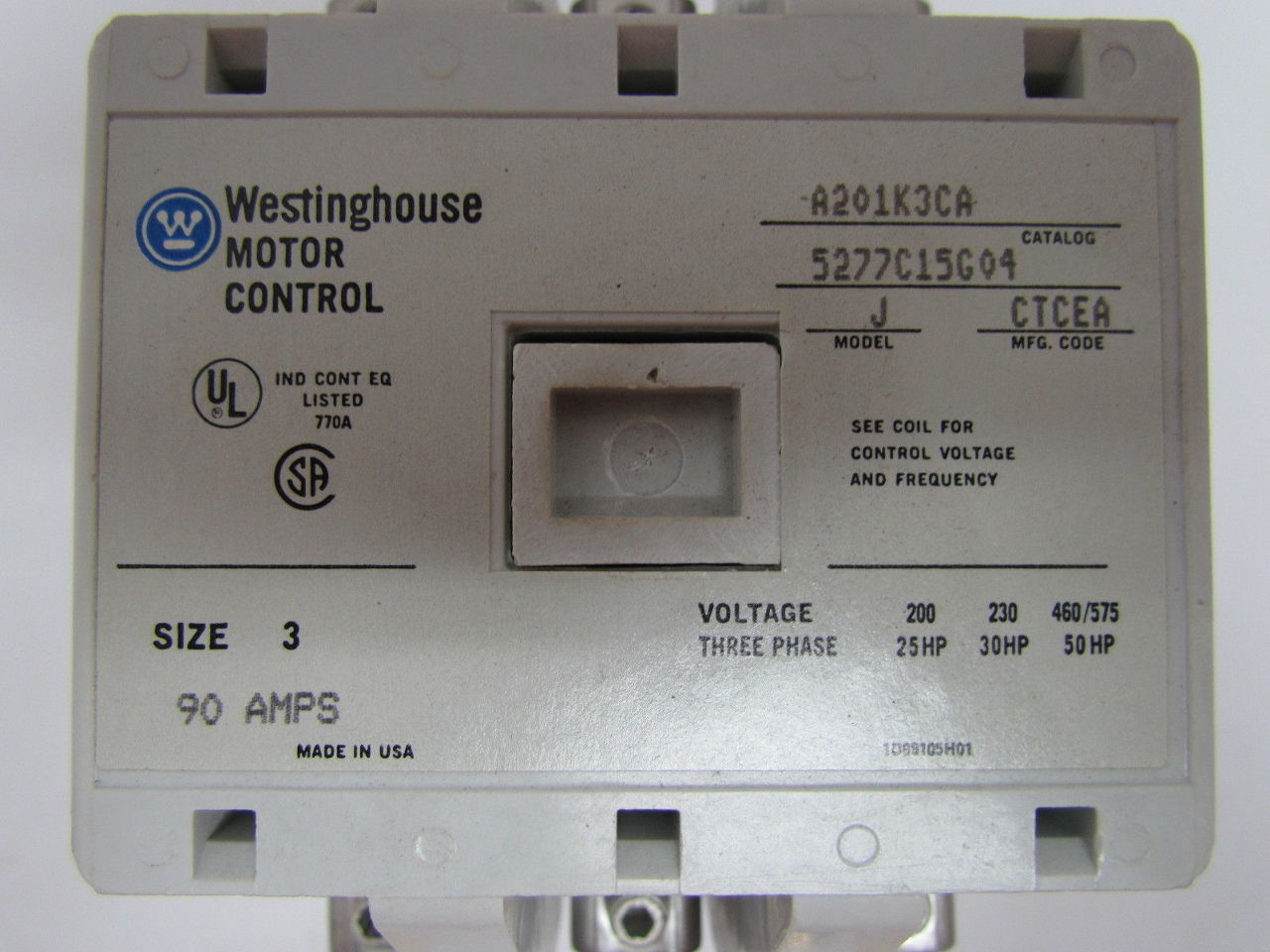 Westinghouse A201k3ca Magnetic Contactor Motor Control
