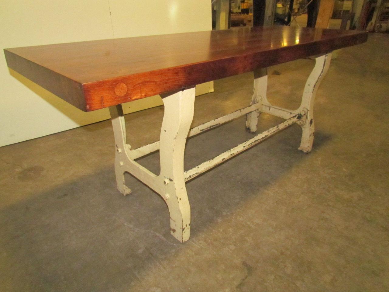 Vintage antique industrial 3 butcher block dining kitchen table cast iron legs ebay - Butcher block kitchen table set ...