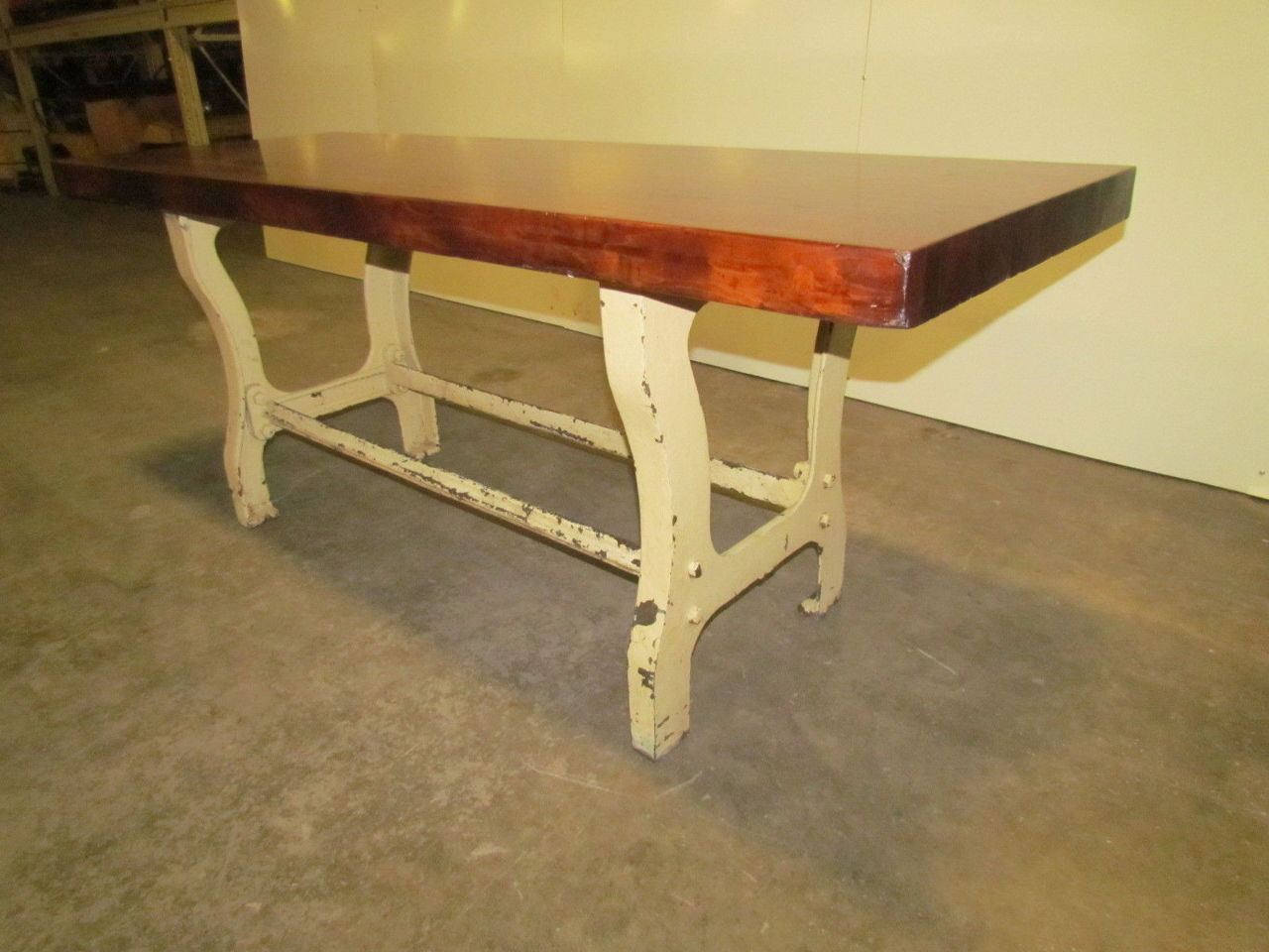 Vintage antique industrial 3 butcher block dining kitchen table cast iron legs ebay - Kitchen table bases ...