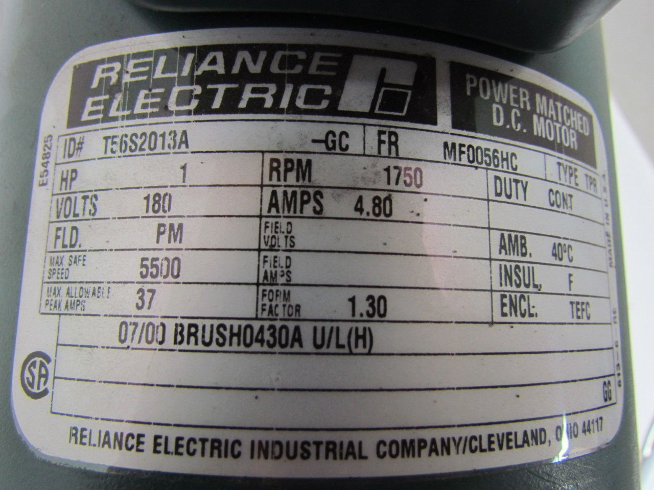Reliance electric 1 hp 1750rpm 180v 56 frame tefc power for Reliance dc motor frame size chart