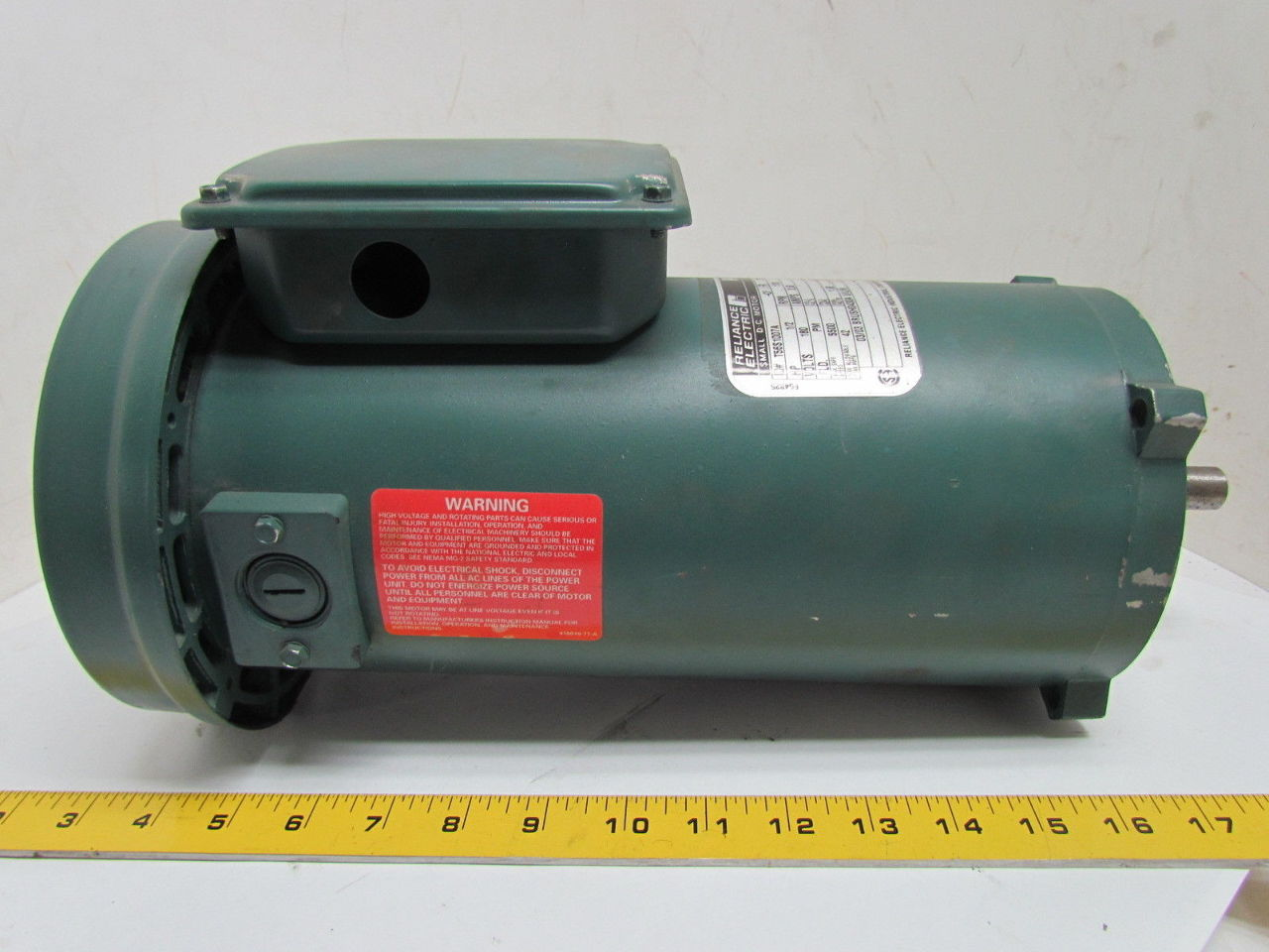 Reliance electric 1 2hp 1750rpm 180v 56c frame tefc for 56 frame motor shaft size