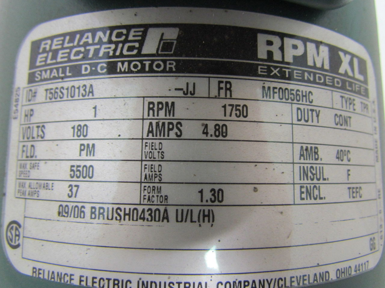 Reliance electric 1 hp 1750 rpm 180v 56 frame tefc for Reliance dc motor frame size chart