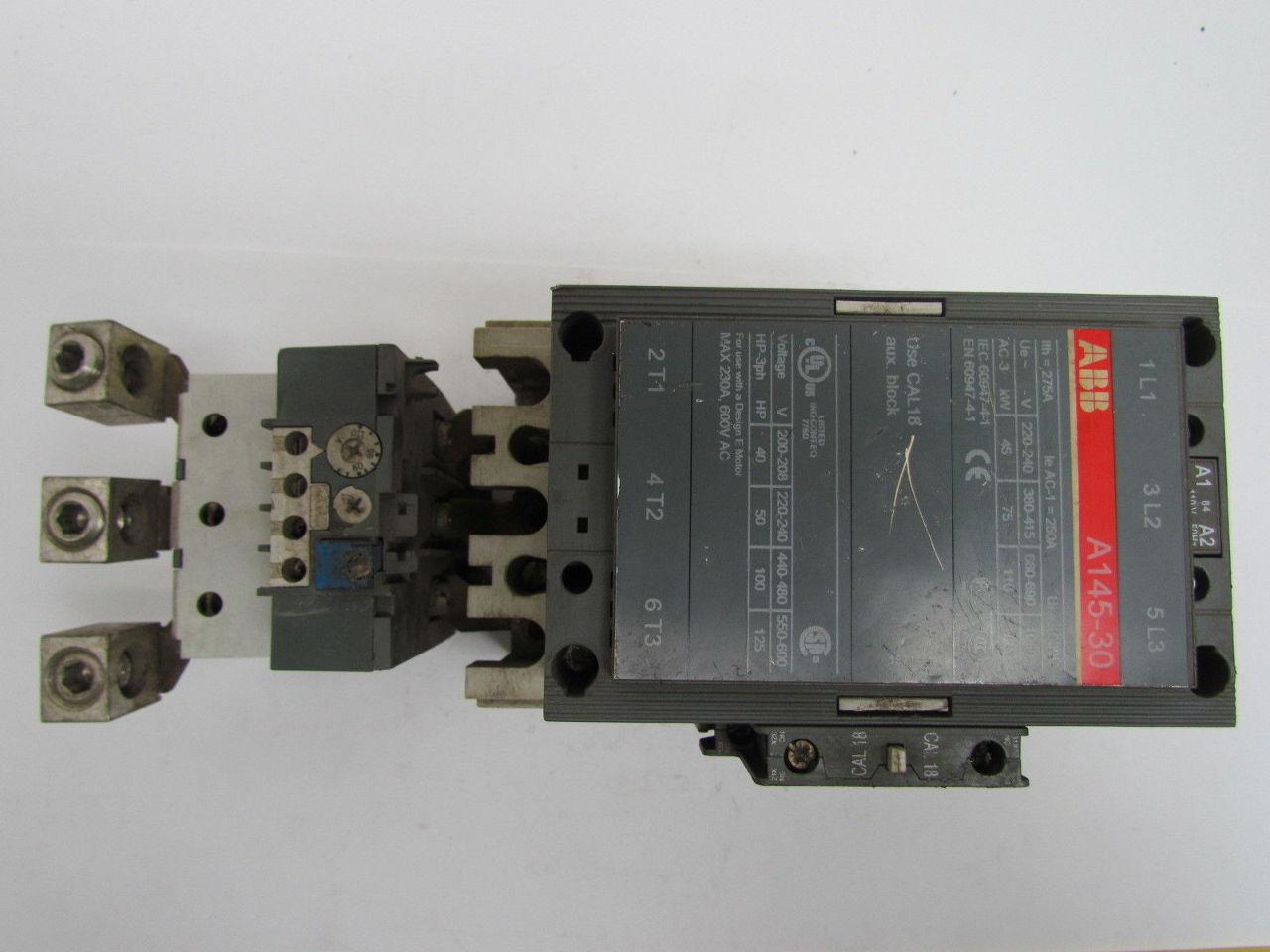 Abb A145 30 Non Reversing Motor Contactor 3 Pole 120v Coil