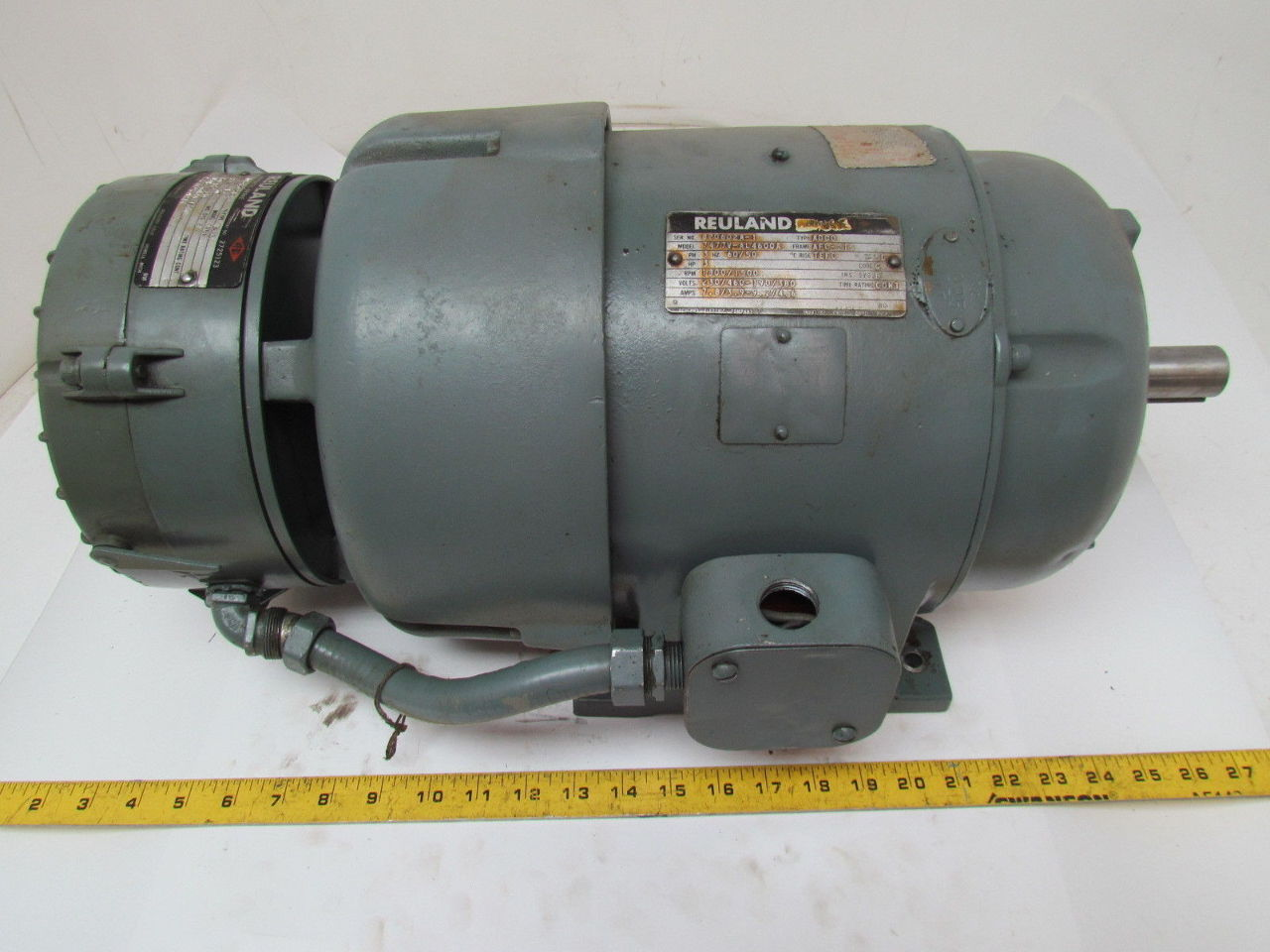 Reuland 3 hp 3 ph 1800 rpm 230 460v tefc electric motor w for 1800 rpm electric motor