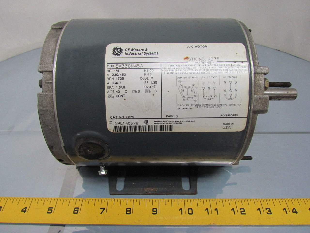 Ge General Electric 5k33gn45a 1 4hp 1725rpm 230 460v 48z