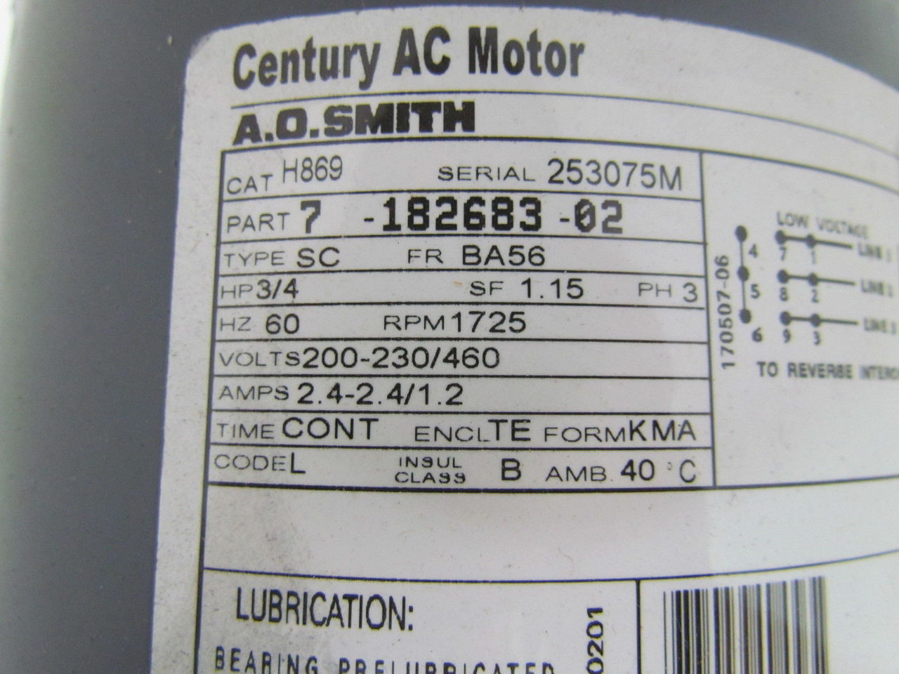 Ao smith h869 tefc electric motor 3 4 hp 3ph 1725rpm 200 for Smith motor company wv