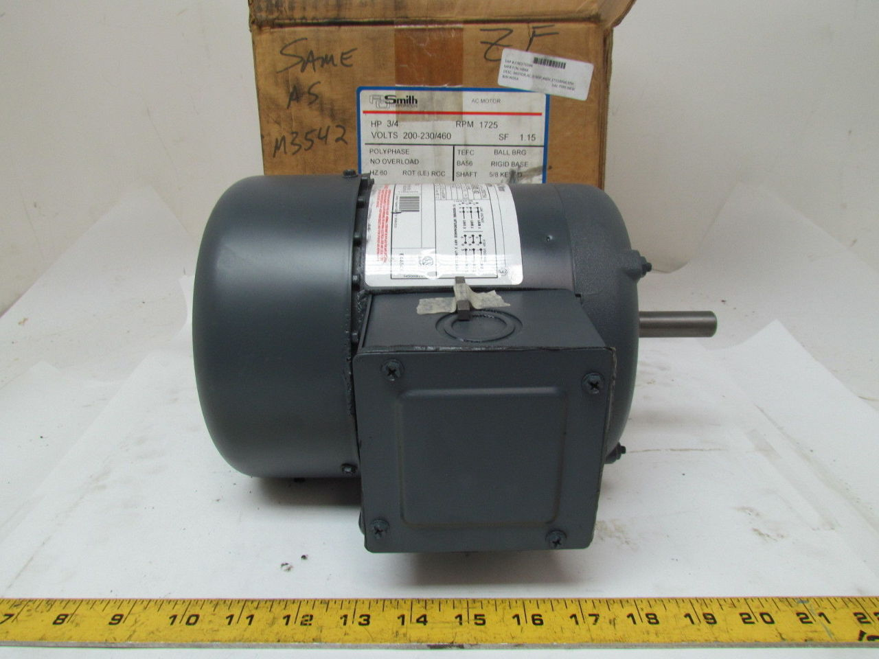 Ao smith h869 tefc electric motor 3 4 hp 3ph 1725rpm 200 for 200 horsepower electric motor