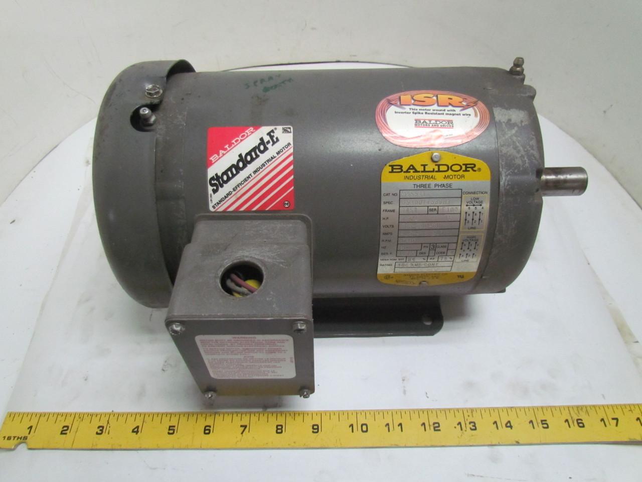 Baldor M3554t 1 1 2 Hp 1740 Rpm 208 230 460v Tefc Electric
