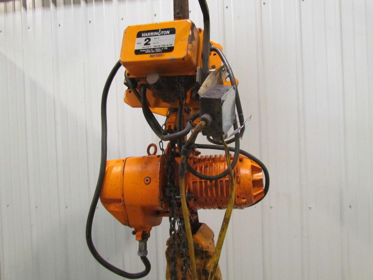 Harrington 2 Ton Electric Chain Hoist 3ph W Power Beam