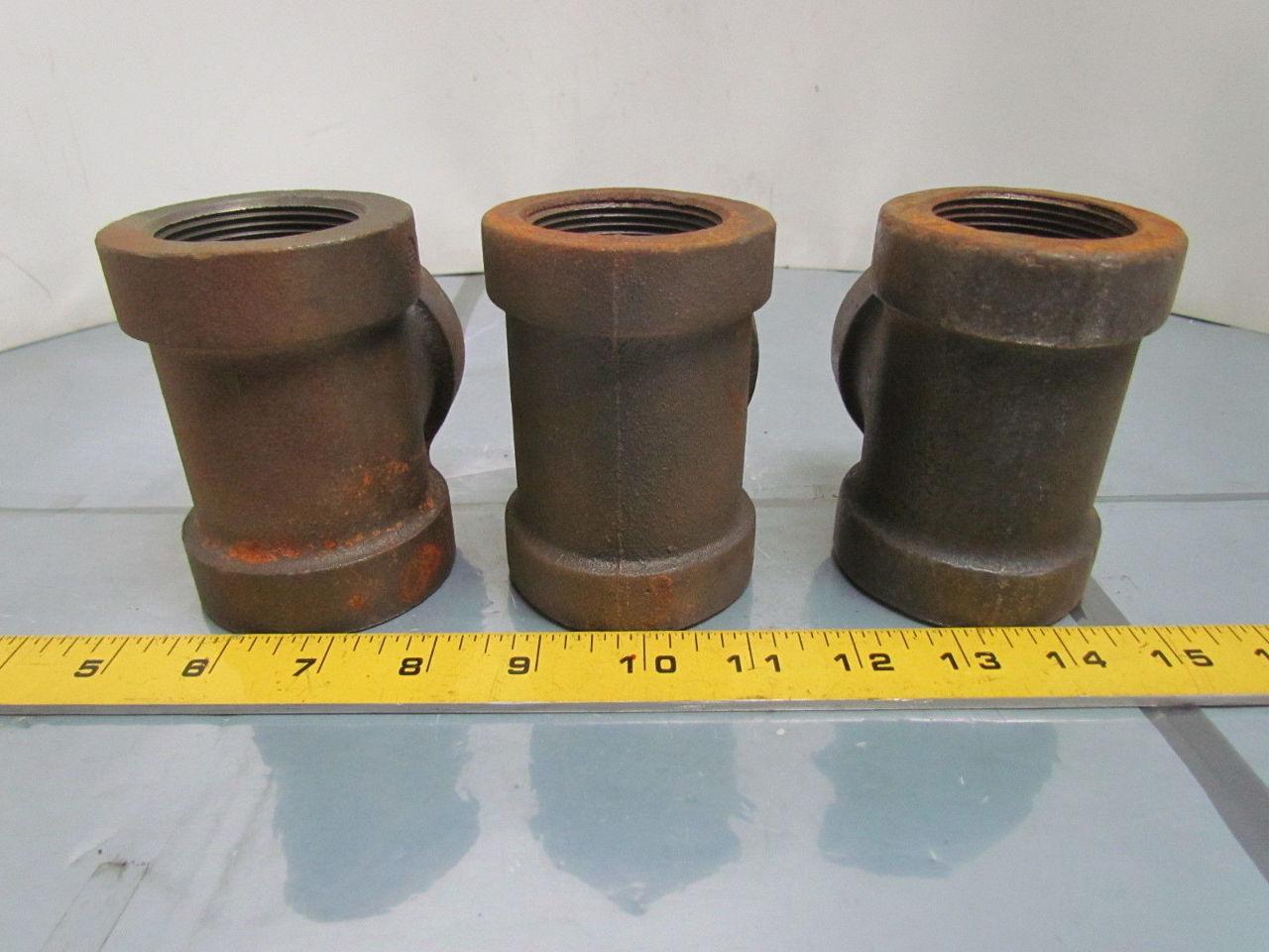 Quot npt black cast iron reducing pipe tee class lot