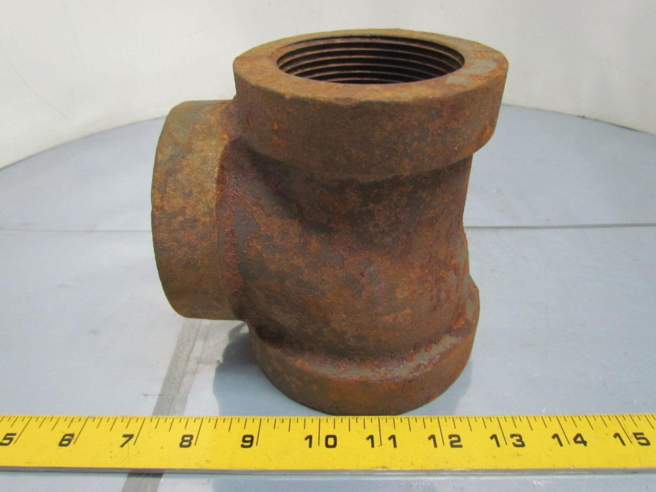 Quot npt cast iron black pipe reducing tee class
