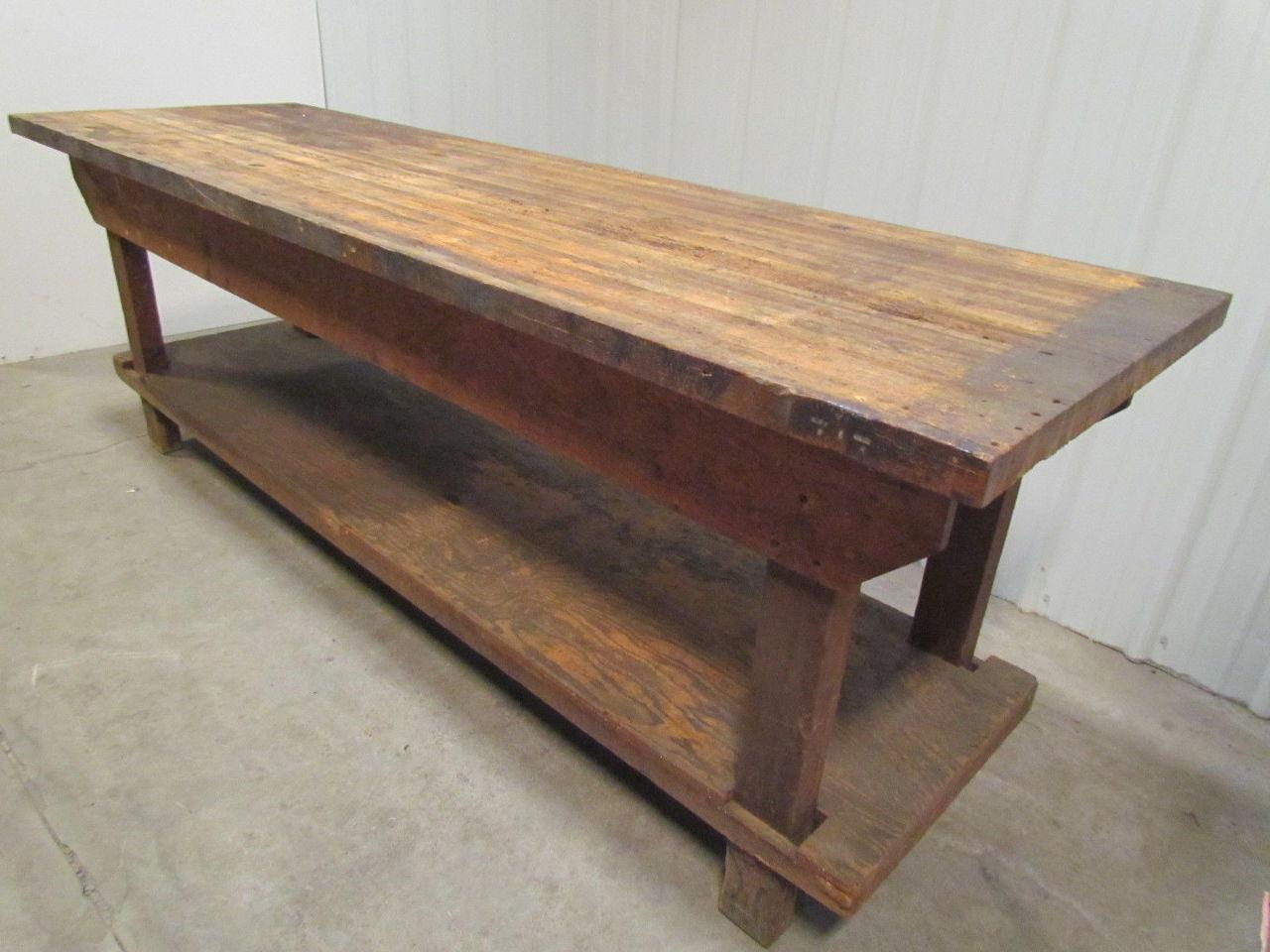 Vintage Heavy Duty Butcherblock Workbench Table Wood Frame ...