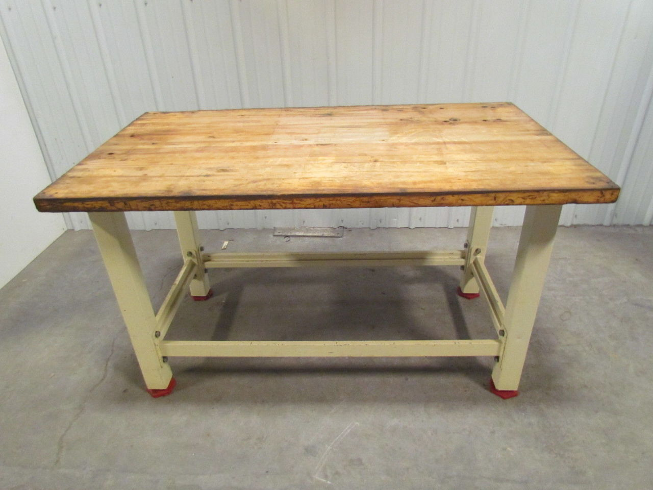 Heavy Duty Butcher Block Top Workbench Table Bolted Steel Frame 60x34x34 Ebay