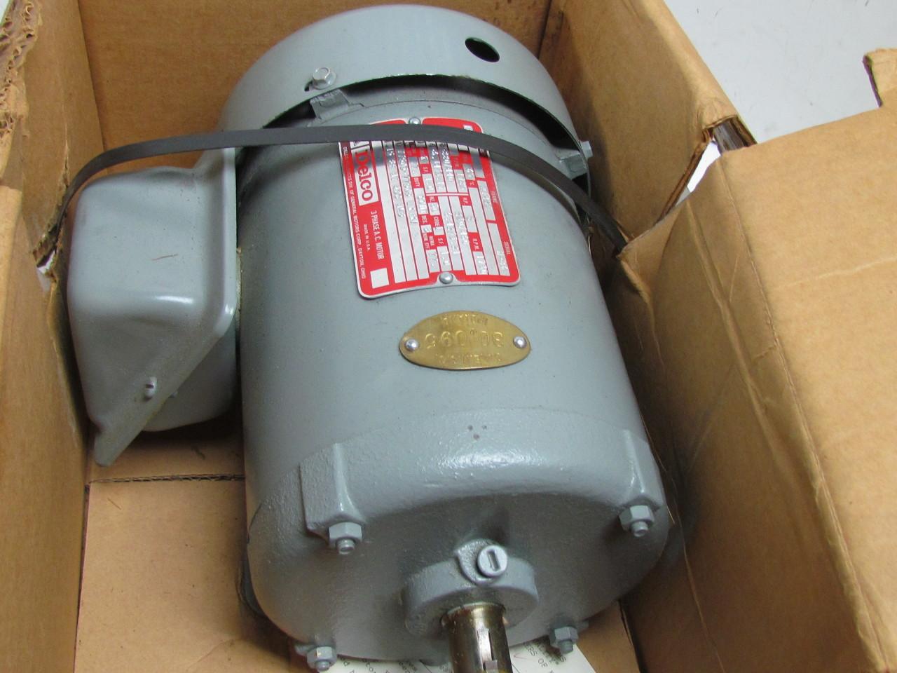 Delco 1f4827 2 Hp Electric Motor 3 Ph 1750 Rpm 220 440v