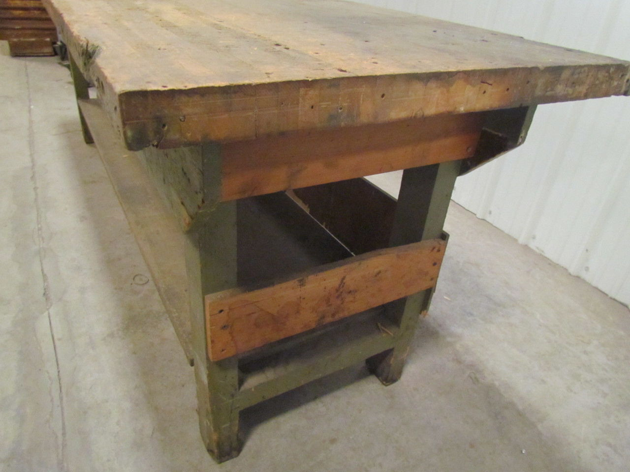 Vintage Industrial Butcher Block Workbench Table Wooden Frame 96x28x33