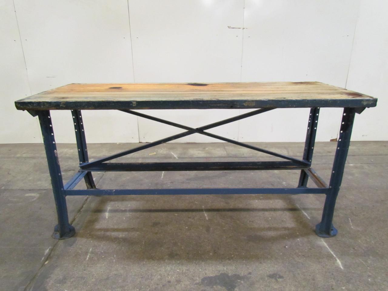 vintage industrial butcher block workbench table blue