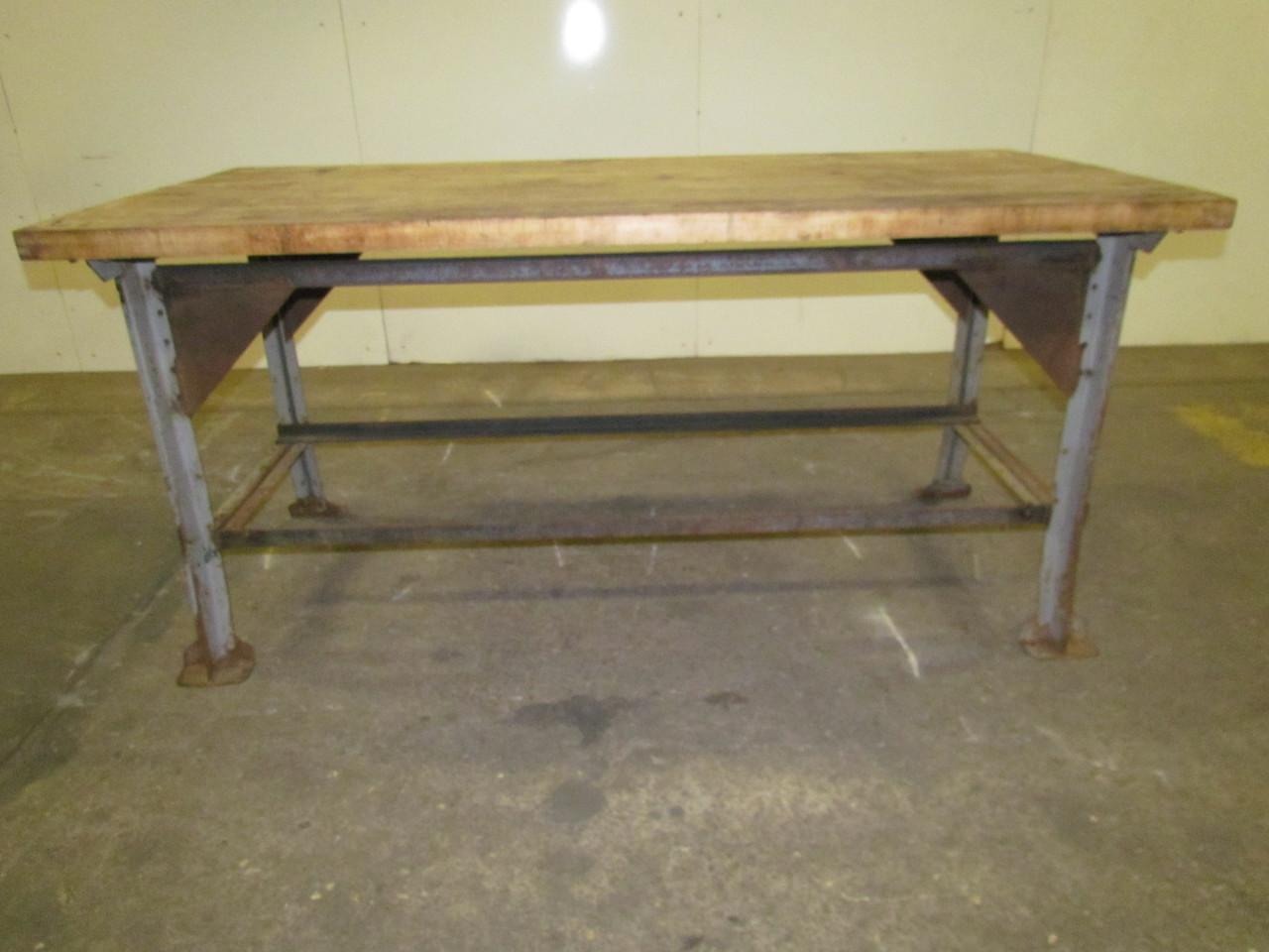 vintage industrial butcher block workbench table welded