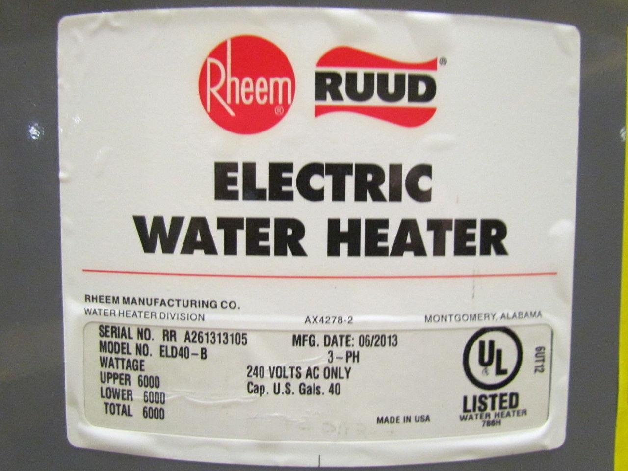 rheem 40 gallon electric water heater manual