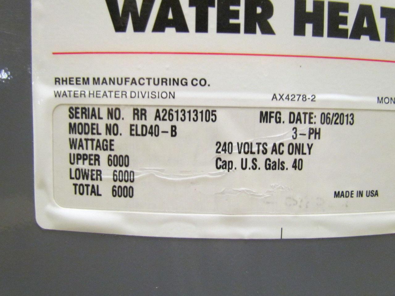 Rheem Eld40 B Commercial Electric Water Heater 240v 3ph 40