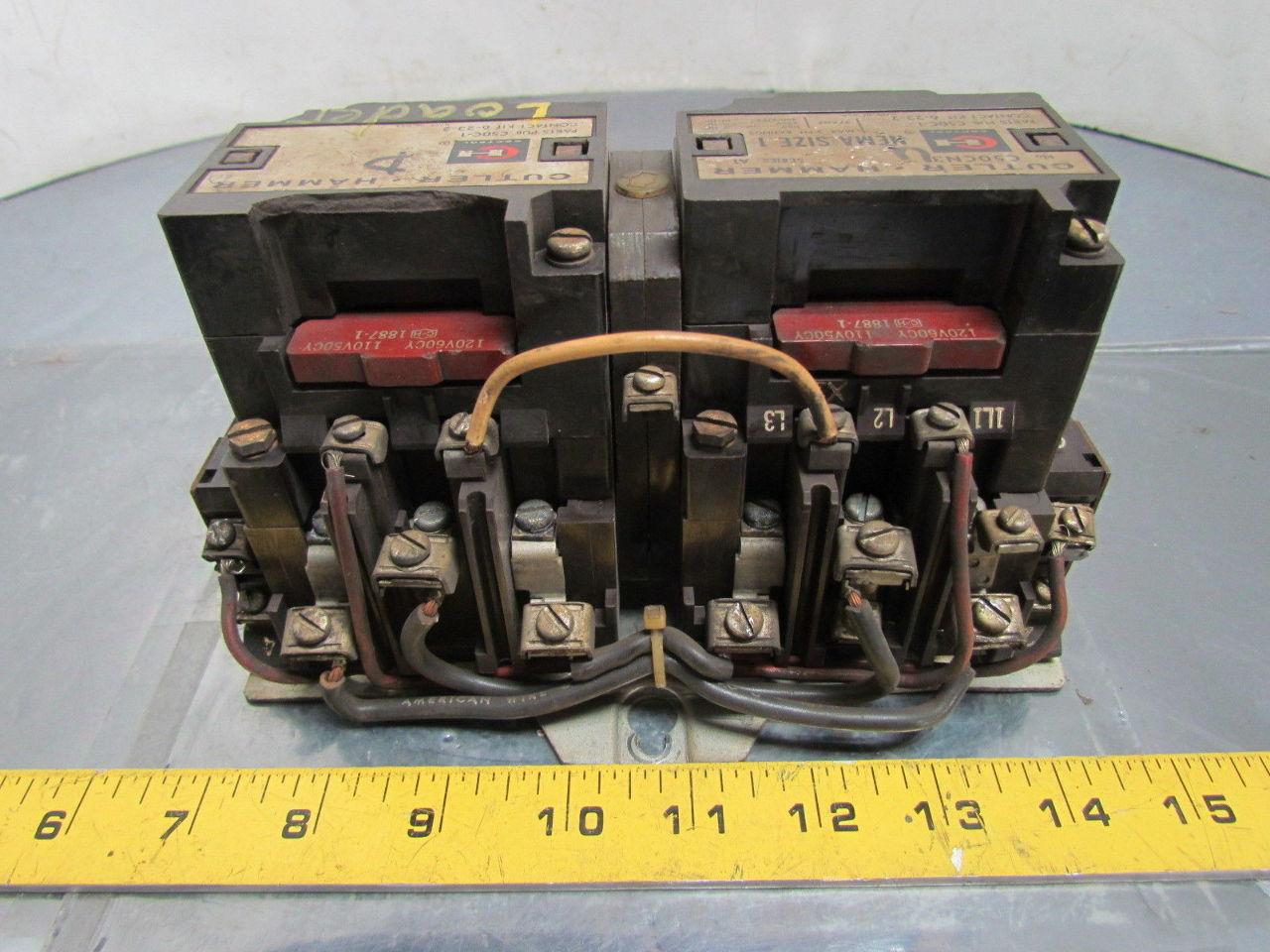 Cutler hammer c50cn3 sz 1 reversing motor starter 3 phase for 3 phase motor starter