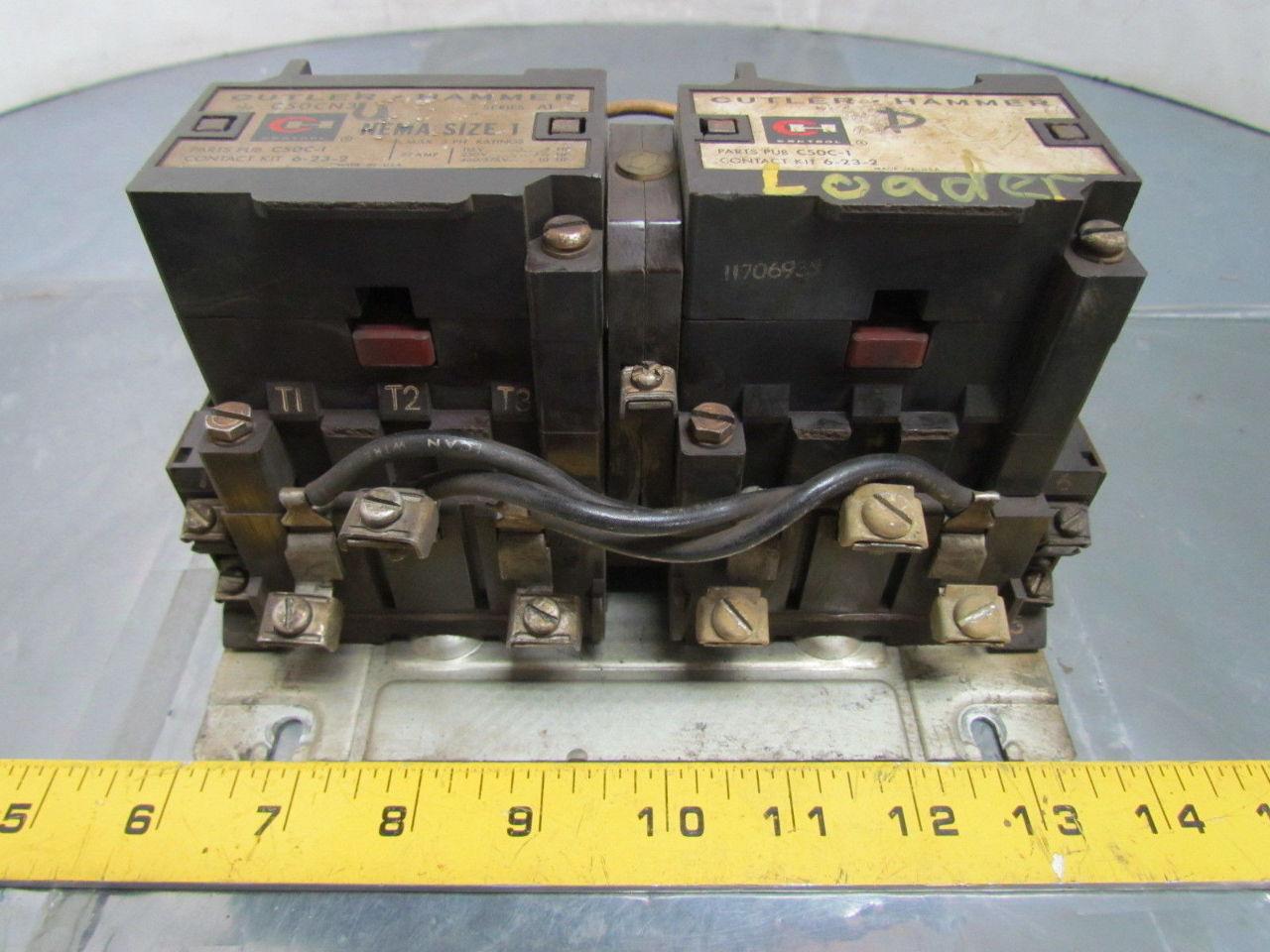 Cutler hammer c50cn3 sz 1 reversing motor starter 3 phase for 1 phase motor starter