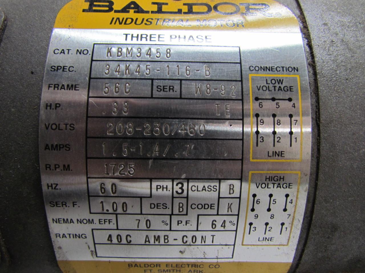 Baldor kbm3458 electric motor 3ph 33 hp 1725 rpm 208 230 for 9 hp electric motor