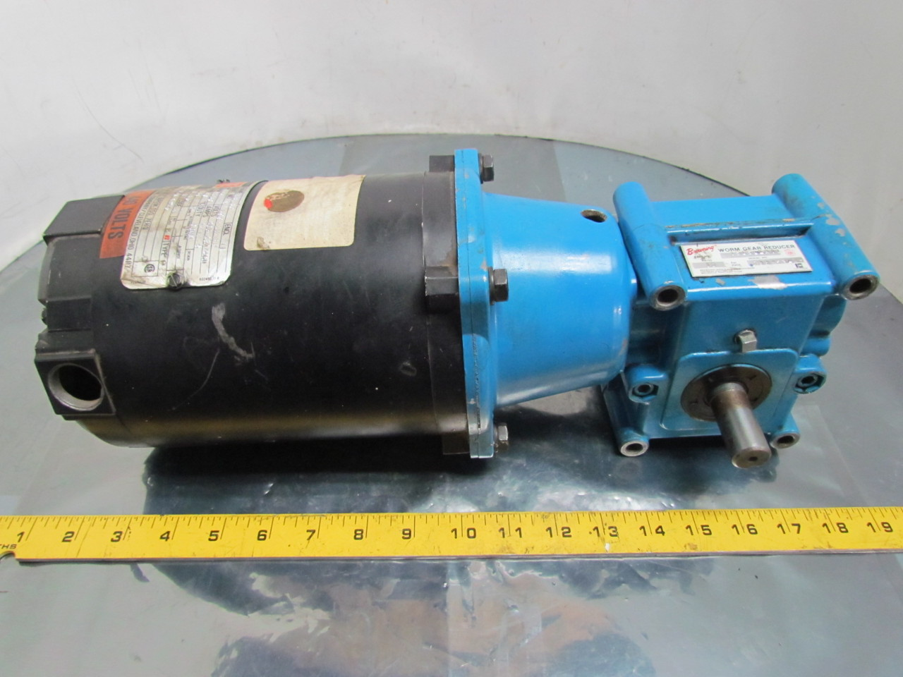 Reliance electric 1 4 hp 3ph 56c motor w browning 10 1 for 1 4 hp gear reduction motor