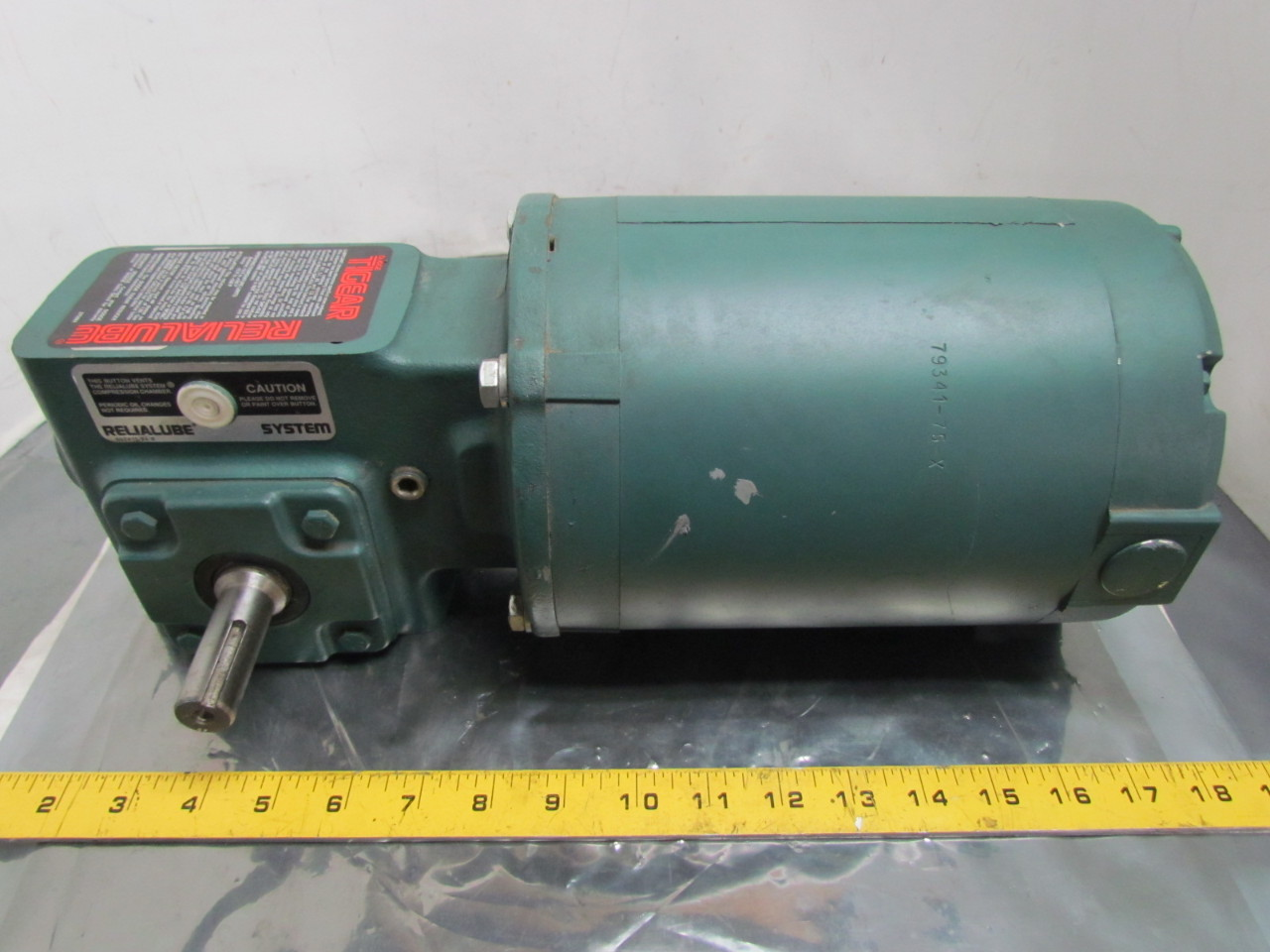 Reliance electric 3 4hp 3ph 56c motor tigear mr94743 10 1 for Reduction gearbox for electric motor