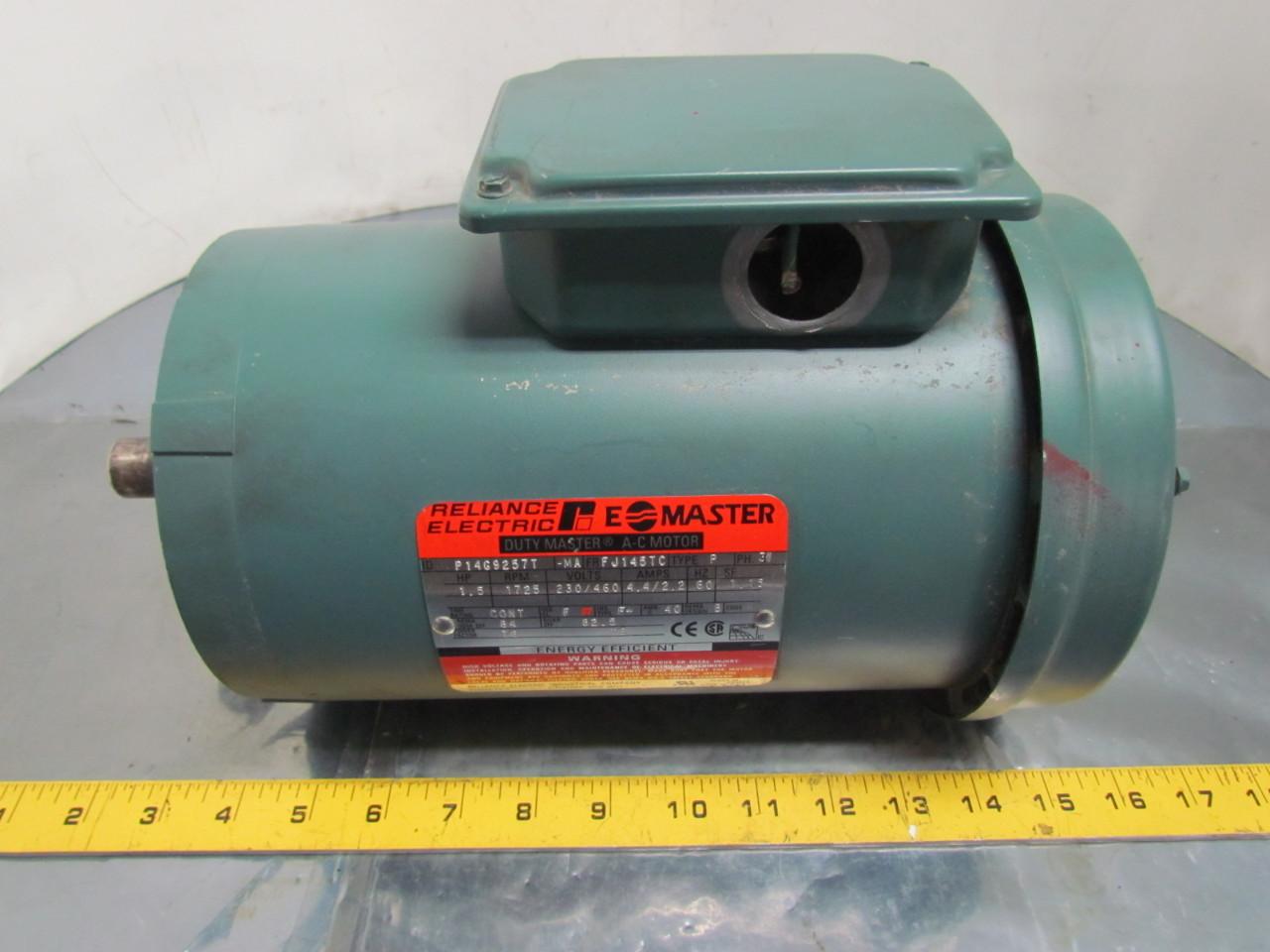 Reliance Electric P14g9257t Motor 1 1 2 Hp 3 Ph 1725rpm
