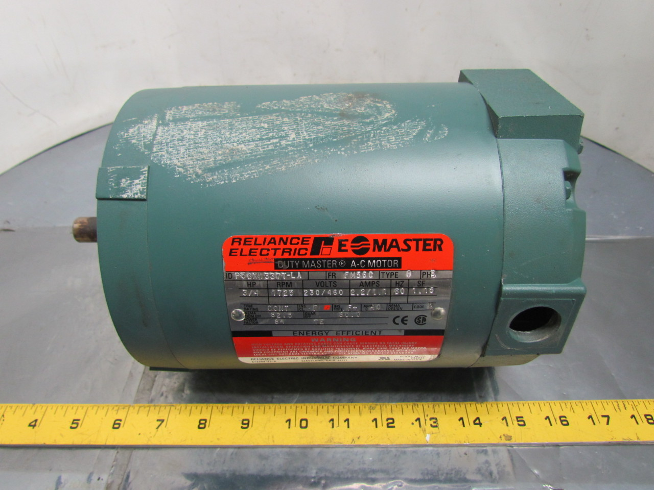 Reliance electric p56x1337t ac motor 3 4hp 3ph 1725rpm for Reliance dc motor frame size chart