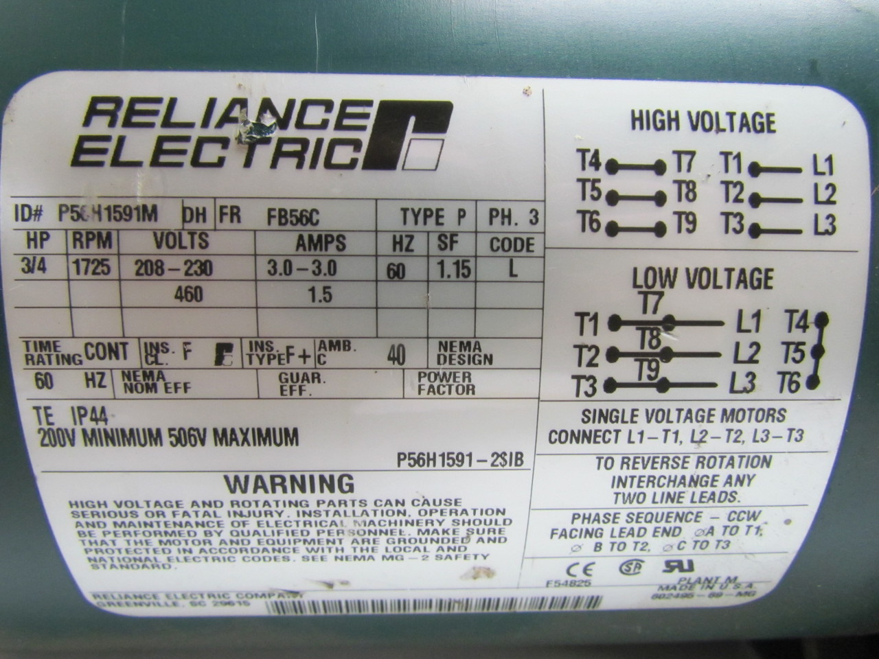 Reliance electric p56h1591m electric motor 3ph 3 4 hp for Reliance dc motor frame size chart