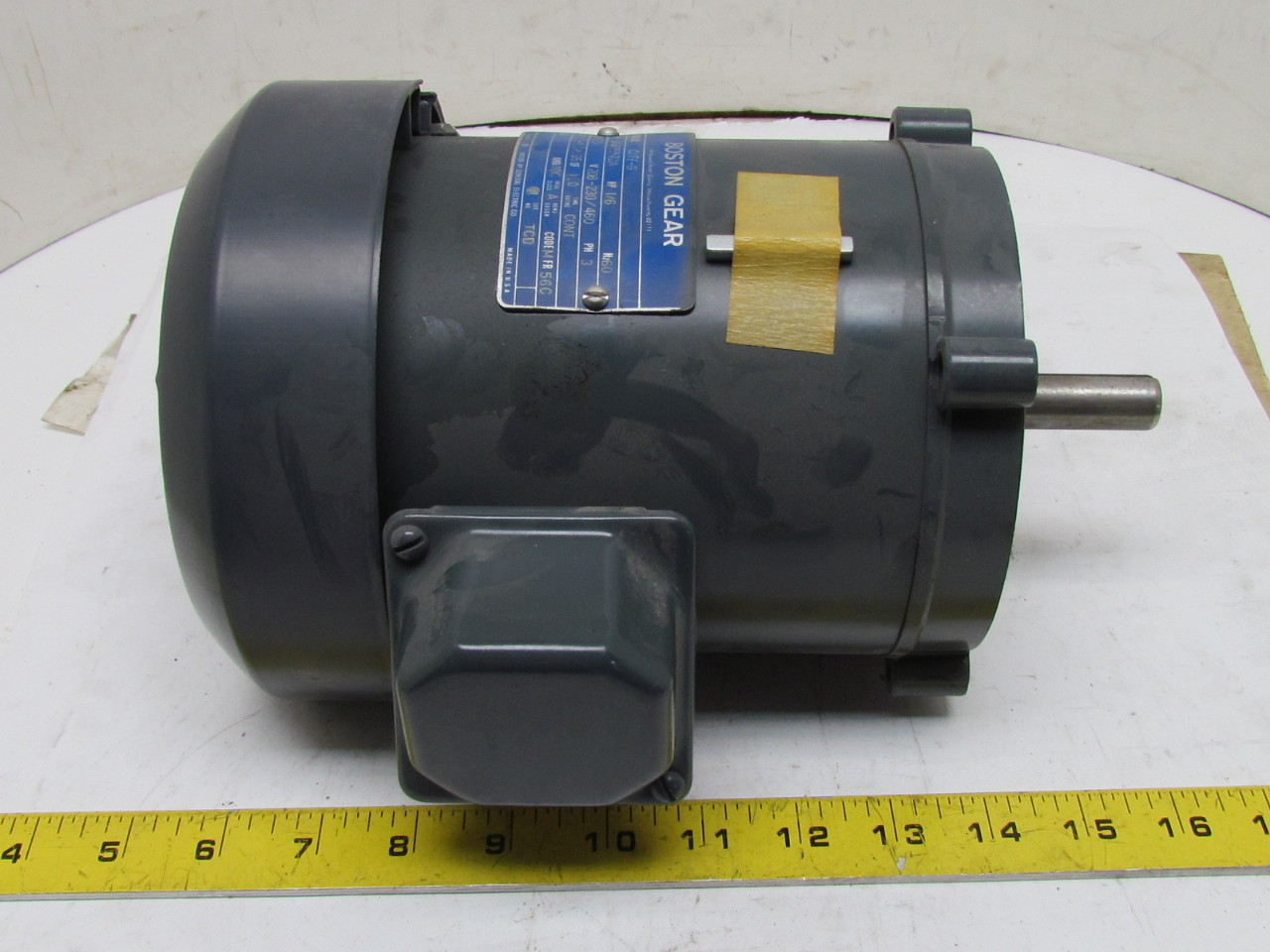 Boston gear 5k32en72a electric motor 1 6 hp 1725 rpm 3 ph for Dc motor 1 3 hp