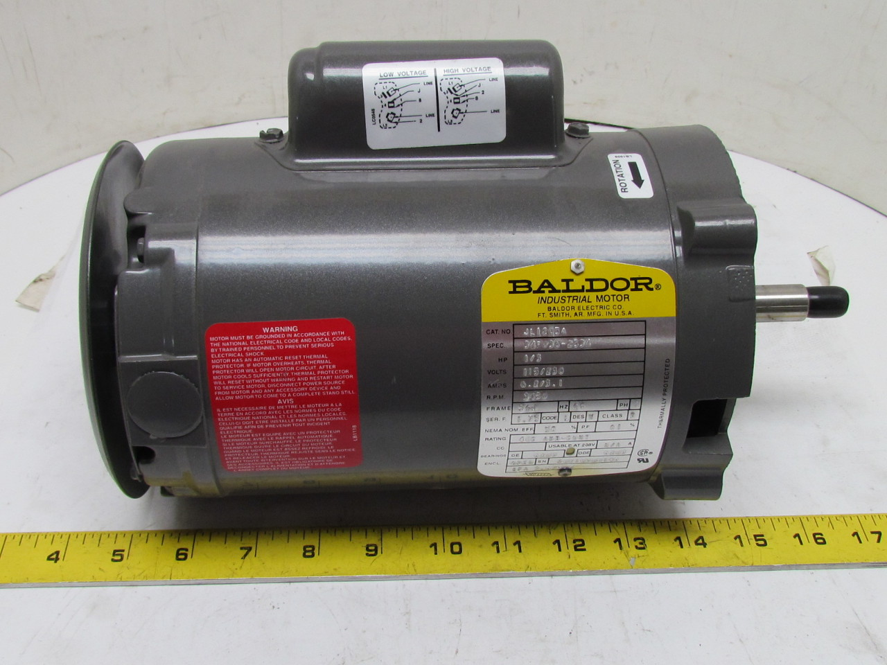 Baldor electric motor 1 3 hp 1ph single phase 56j frame for Dc motor 1 3 hp