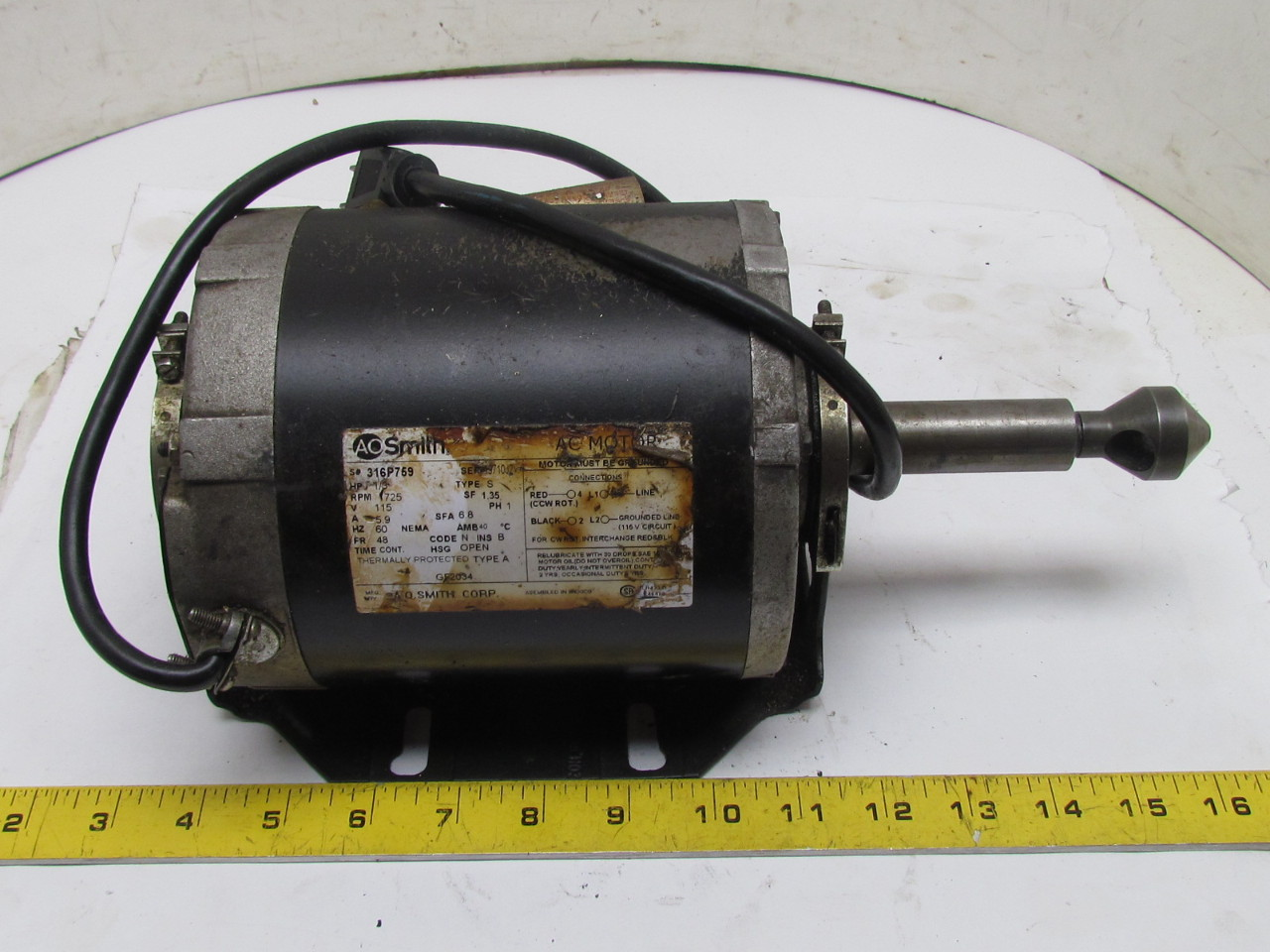 A o smith 1 3 hp 1 phase motor 115v w countersink deburing for 1 hp 3 phase motor